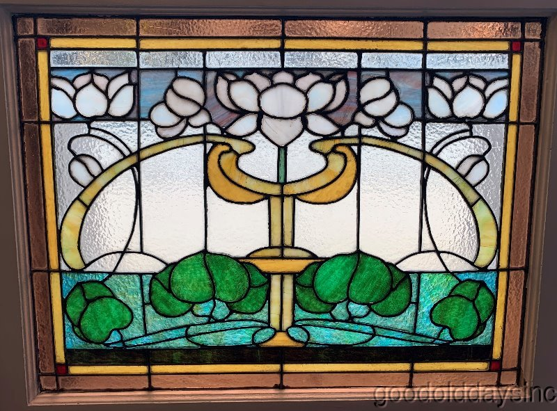 "Antique Chicago Stained Leaded Glass Window 36"" x 29"" Circa 1900"