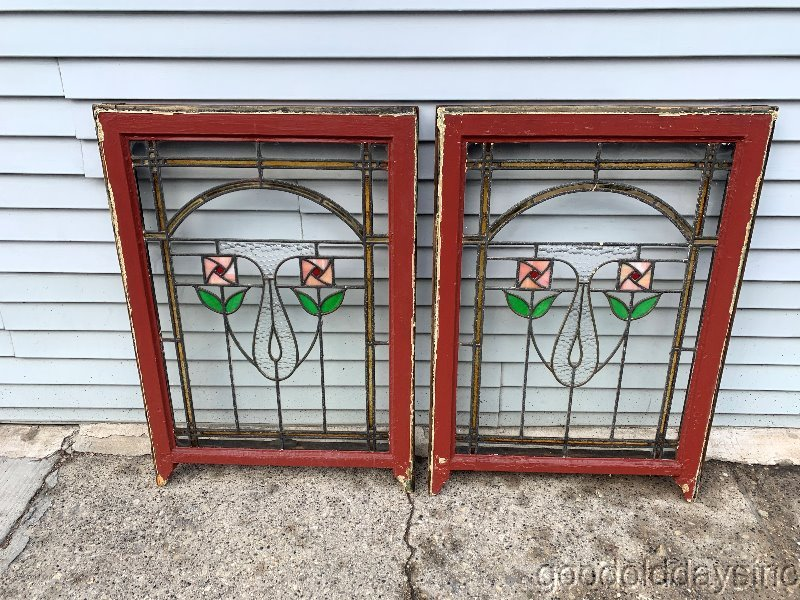2 of 4 Antique 1920s Chicago Bungalow Square Rose Stained Leaded Glass Window