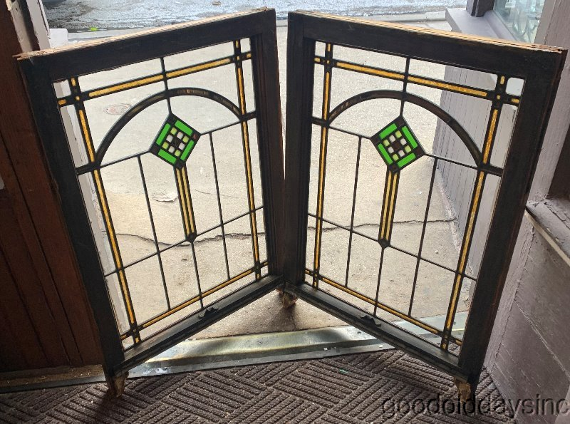 2 of 5 Antique 1920s Chicago Bungalow Style Stained Leaded Glass Windows 34x24