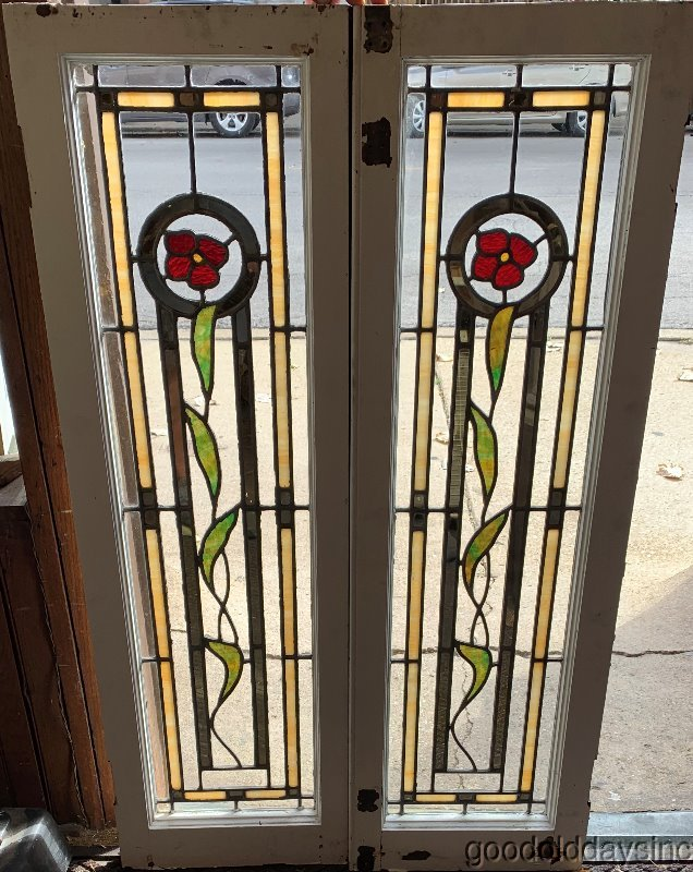 2 of 6 Antique Chicago Stained Leaded Glass Windows / Doors Circa 1925