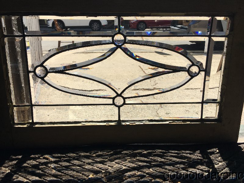 Antique Beveled & Jeweled Glass Transom Window Circa 1900