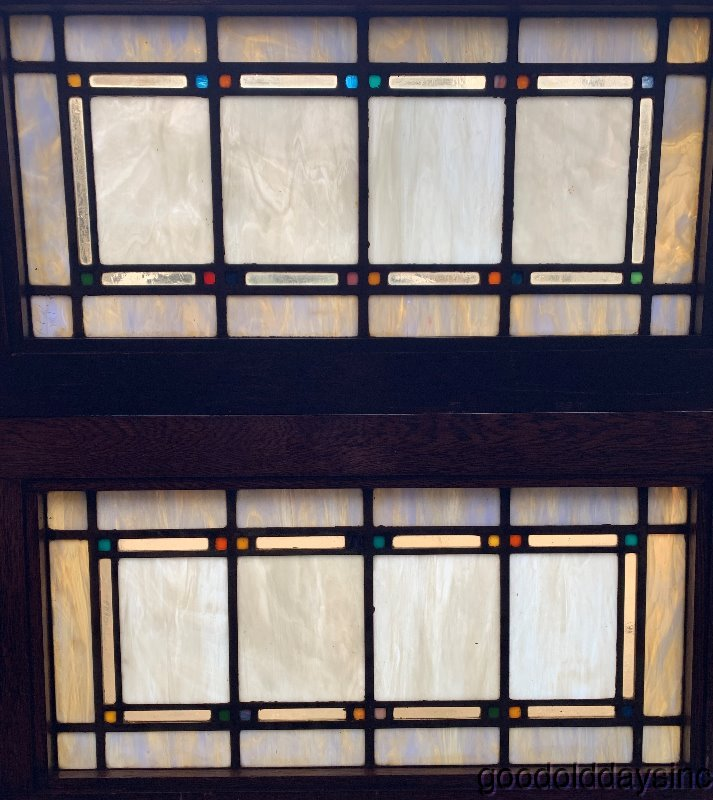 "2 Antique Chicago Arts & Crafts Stained Leaded Glass Transom Windows 33"" x 18"""