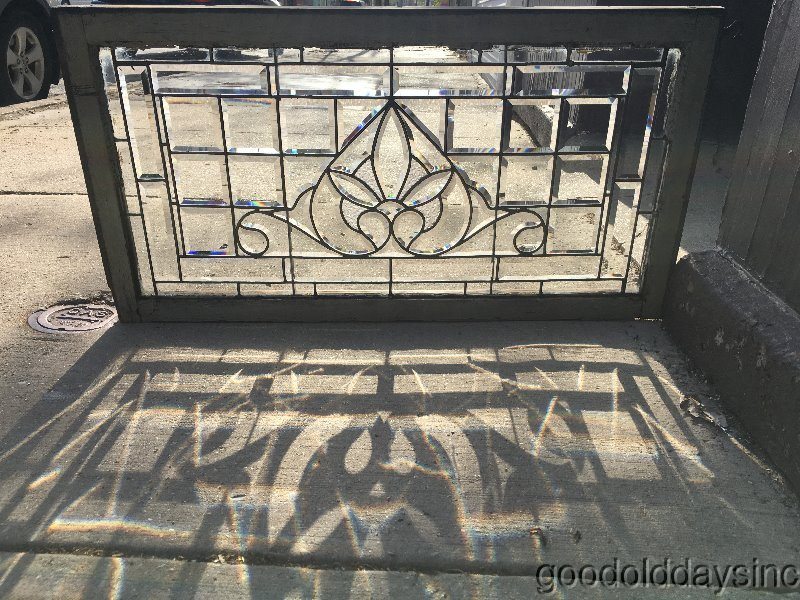 "Antique Chicago Beveled Leaded Glass Transom Window 42"" x 22"" Circa 1900"