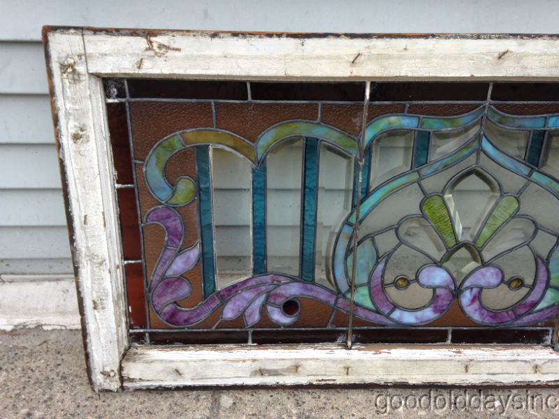 Victorian Stained Glass Transom w Bevels & Jewels as is