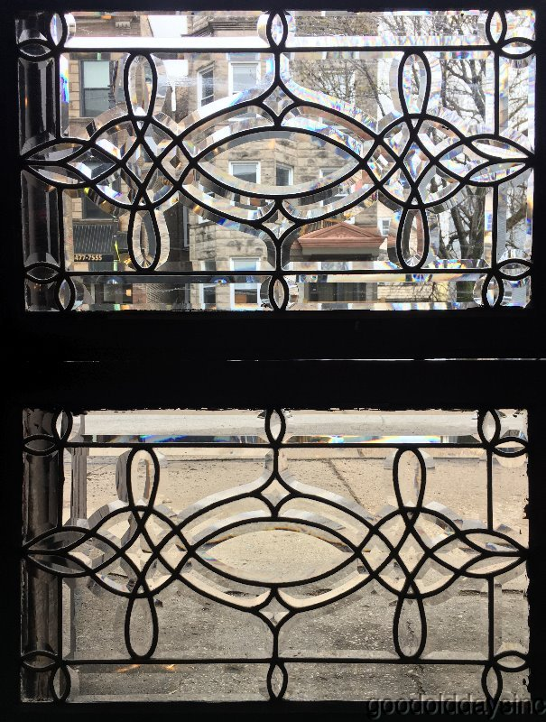 "Wonderful Pair of Antique Beveled Glass Transoms / Sidelights 29"" x 18 ca.1900"