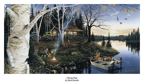 What Stores Take Paypal >> Wildlifeprints.com : Mark Daehlin Closing Time Lake fishing Print 33 x 17