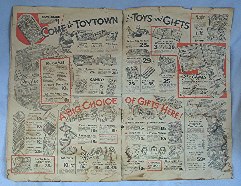 Details about 1930's Christmas Advertising -- Toy Town Catalog / Magazine *