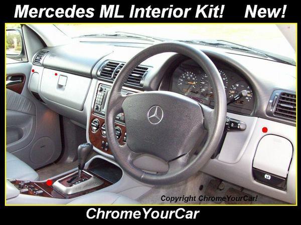 Mercedes ml 98 05 5 part interior trim kit aluminium for Mercedes benz interior trim parts