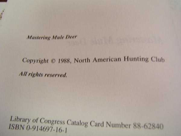 Mastering Mule Deer 1988 North American Hunting Club