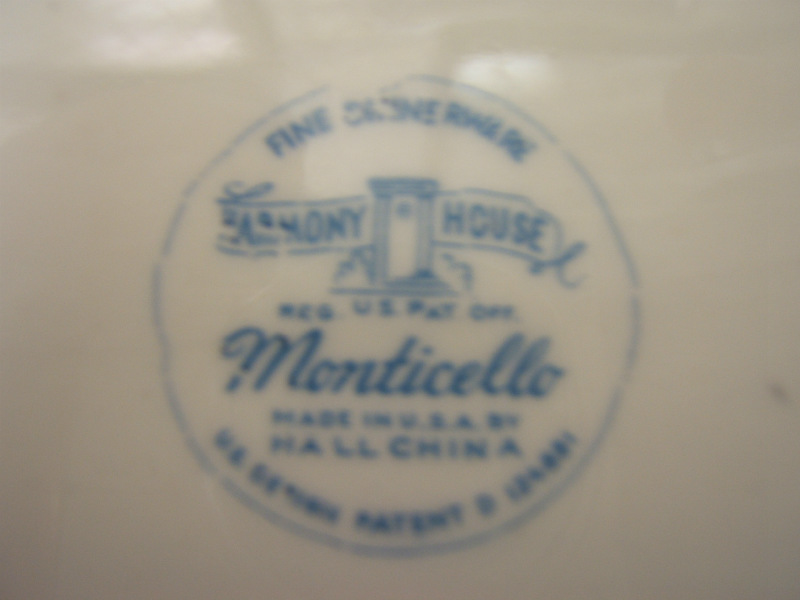 Details about Harmony House Monticello China White Hall Platter 11