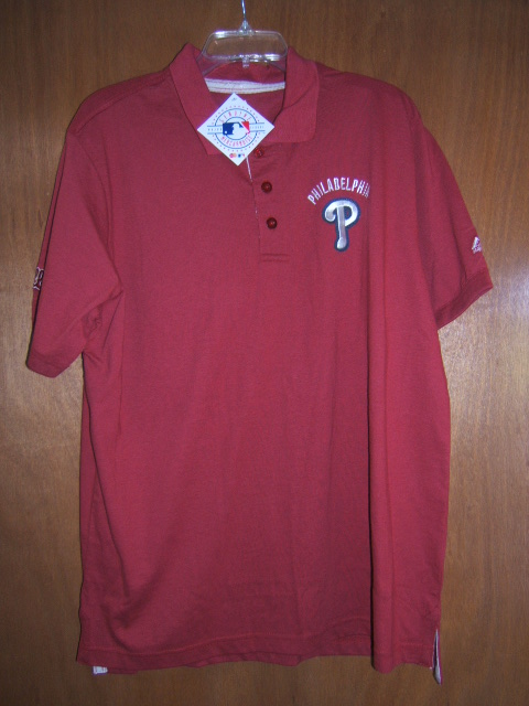 Mlb philadelphia phillies majestic polo shirt red with