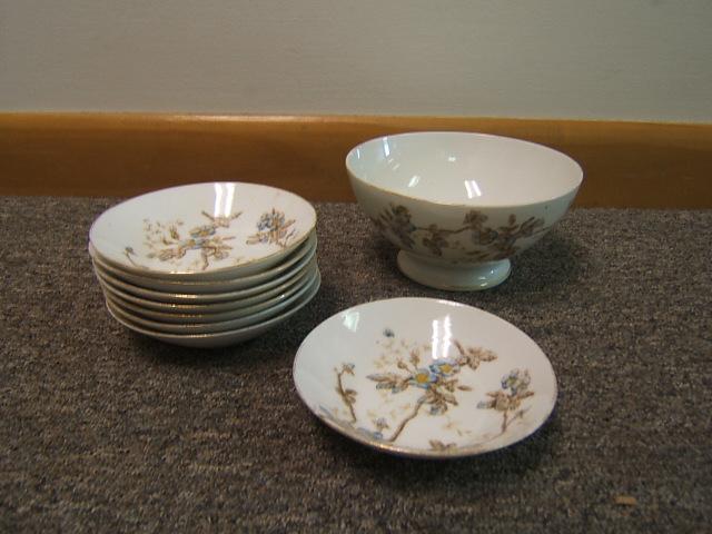 Vintage Limoges Porcelain China France Cranberry Bowl w/ Small Bowls Floral VGC & Vintage Limoges Porcelain China France Cranberry Bowl w/ Small Bowls ...
