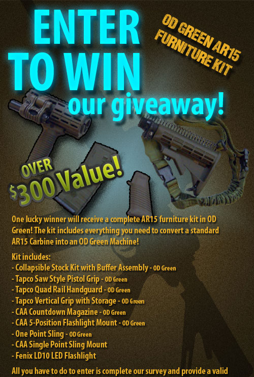 Enter to Win our giveaway! An OD Green AR15 Furniture Kit! Over $300 Value!