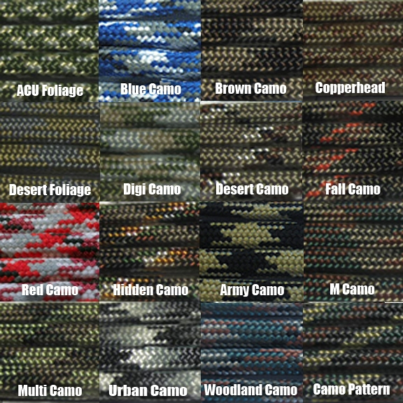 Check out our camo colors of paracord