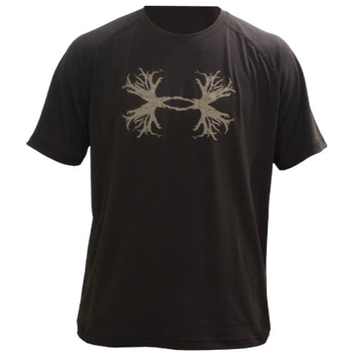 New under armour big buck antler mens t shirt brown lg for Under armour brown t shirt
