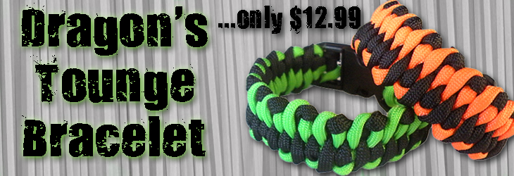 Custom Made Paracord Dragon's Tongue Bracelet $12.99