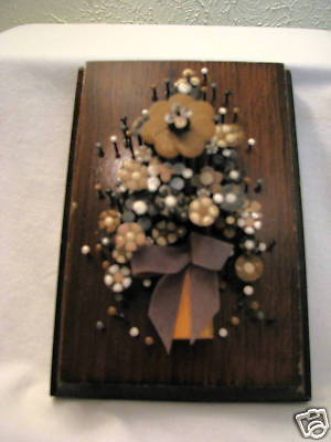 Snow1 S Treasured Collections Vintage 1977 Nail Flower Art Wall Plaque Pol O Craft