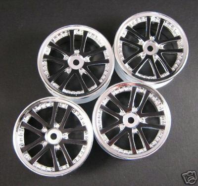 Black Chrome 1 10 Sedan Wheels Rim by 3Racing WH 02 BL