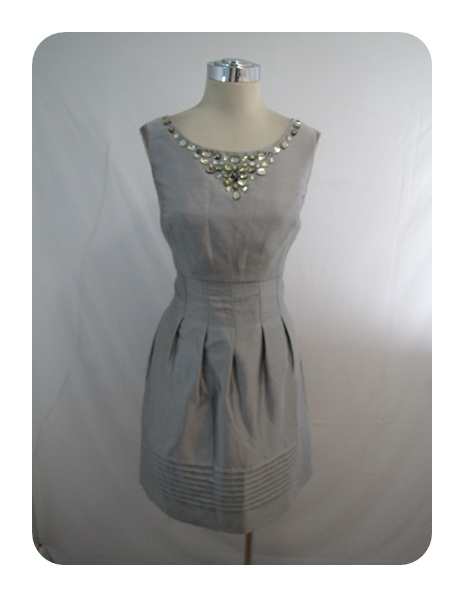 New Jessica Howard Silver Beaded Pleated Skirt Shantung Dress 14 $102
