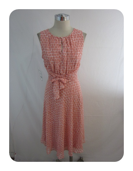 New Jessica Howard Berry Pink Polka Dot Tie Waist Chiffon Dress 12P $