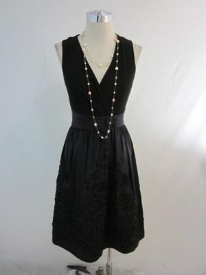 New Jessica Howard Black Taffeta Ribbon Skirt Empire Surplice V Neck