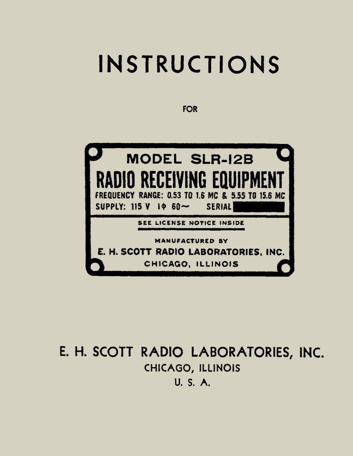 Robert's Military Radios : IB-SLR-12B REPRINT INSTRUCTIONS MODEL SLR