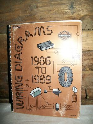 genuine harley-davidson technical communications dealership service  department wiring diagram book for all 1986 to 1989 models  part #99948-89