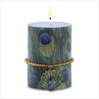 Peacock candle with charm condition new price 12 95 38545 peacock