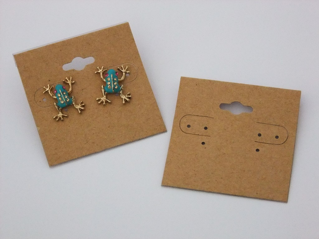 This Plain Kraft Hanging Earring Card Has A Hole For On Hook Top Display And Also The Flap Back That Will Allow It To Be Placed