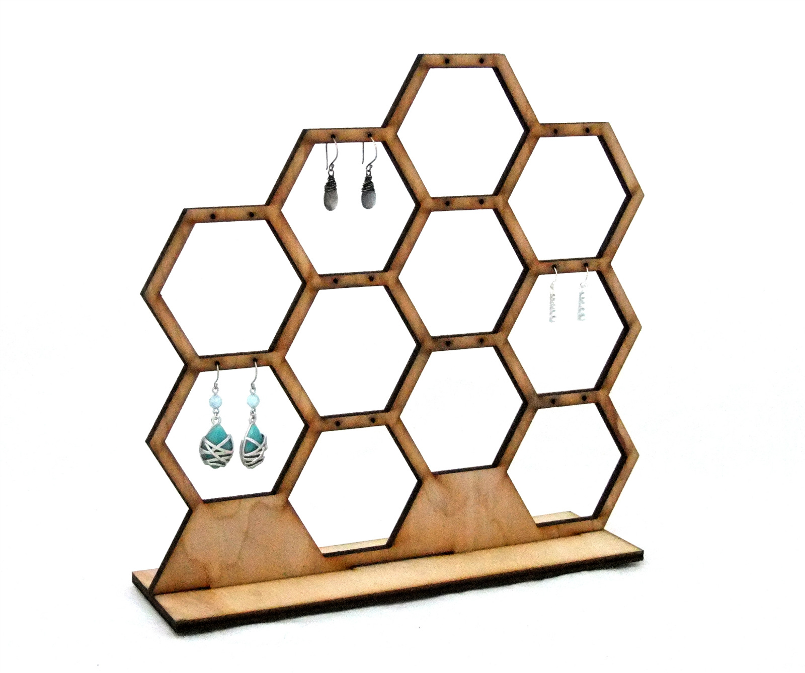 Wooden Honeycomb Earring Display