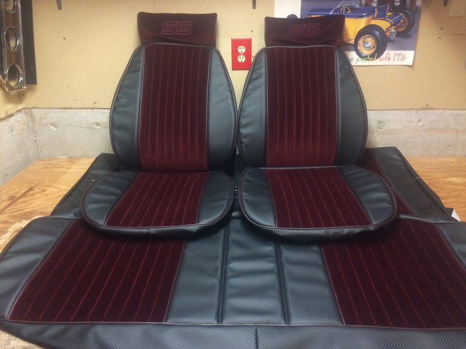 Monte Carlo SS upholstery maroon cloth black vinyl
