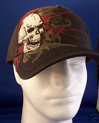 picture it here miami ink winged skull tattoo black ball cap hat nwt. Black Bedroom Furniture Sets. Home Design Ideas