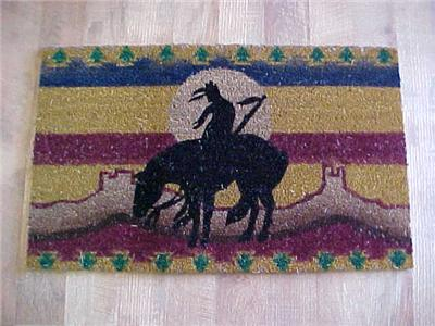 End Of The Trail Door Mat Western Cowboy Indian Horse