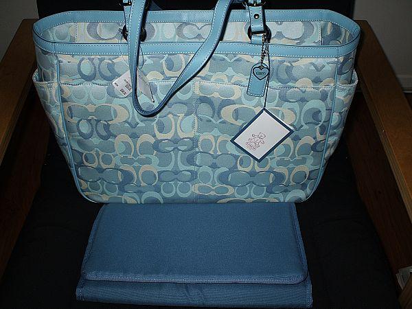 COACH OPTIC SIGNATURE BLUE MULTI BABY DIAPER LAPTOP BAG