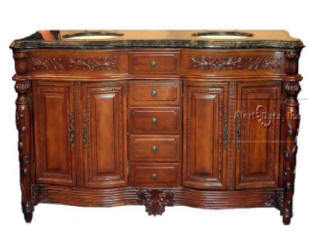 Granger54 Beautiful Stand Alone Double Bowl Pecan Vanity Cabinet