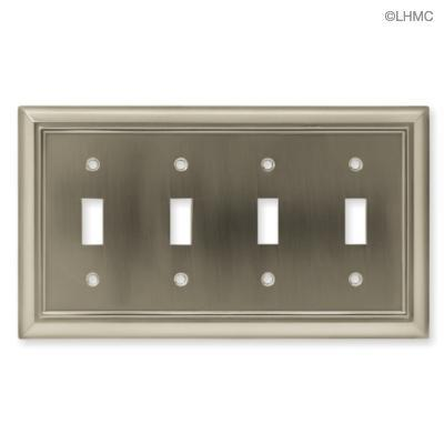 brushed satin nickel quad light switch wall plate new. Black Bedroom Furniture Sets. Home Design Ideas