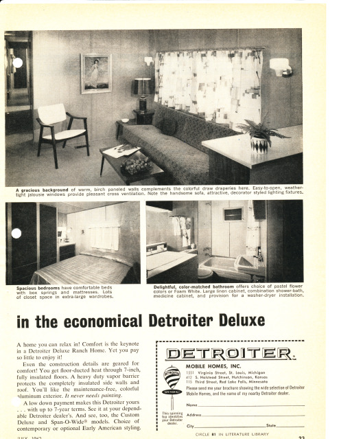 Vintage Literature Reproductions 1962 Detroiter Mobile Home Rv