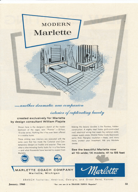 Vintage Literature Reproductions 1960 Marlette Mobile