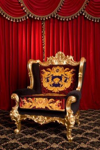 Iqdesigner Dg Versace King Throne Chair Red Animal Print