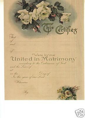 Framehousegallery Replica 1890s Marriage Certificate