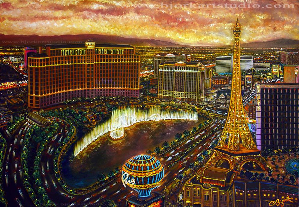 original paintings canvas las vegas city of magic