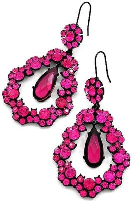 HOT PINK CRYSTAL TEARDROP CHANDELIER PAGEANT EARRI