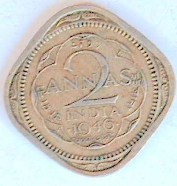 Antique Indian Currency 2 Annas George Vi King Emperor