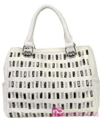 Mms Design Studio Rhinestone Fringe Studded Boston Tote Bag Vegan Purse White Handbagus