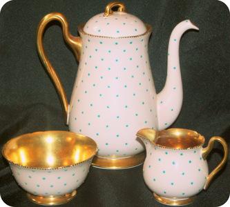 Shelley english bone china turquoise polka dots pink tea for Gold polka dot china