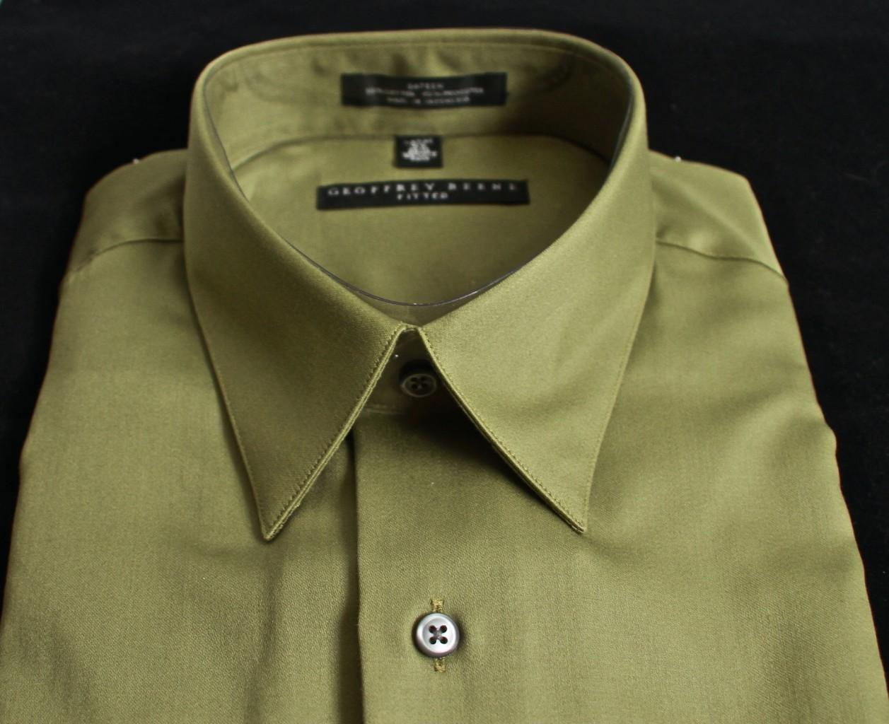 Zhantra108 Geoffrey Beene Dress Shirt Olive Green Sateen