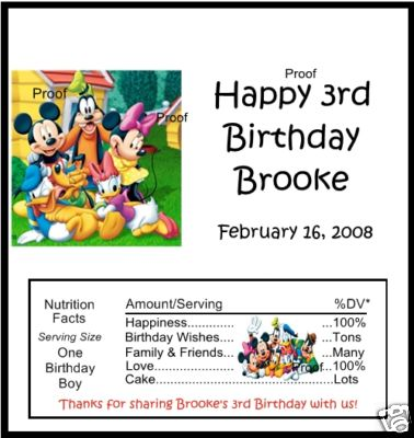 Candy Wrapper Creations : 15 Mickey Mouse & Friends Birthday Candy Bar