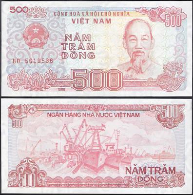 Vintage Bank Note Vietnam 500 Nam Tram Dong Cv 20
