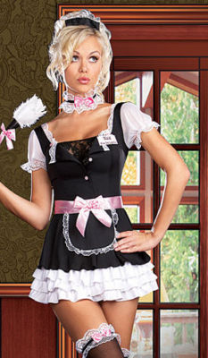 luckydollstore  sexy flirty french maid apron costume