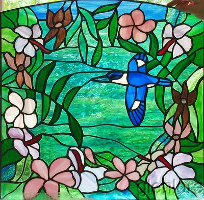 Lorraine Breen Stained Glass Hibiscus Frangipani Amp Forest Kingfisher Leadlight Art Stained Glass Front Door